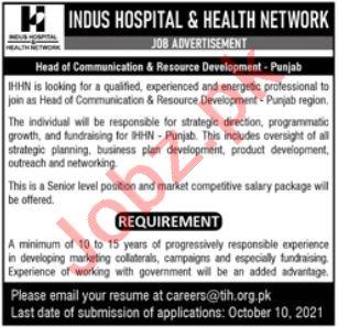 Indus Hospital & Health Network Job 2021 In Lahore