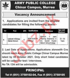 Army Public College Chinar Campus Murree Jobs 2021
