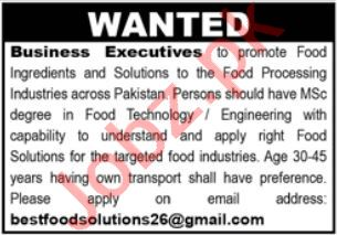 Business Executives Jobs 2021 In Karachi