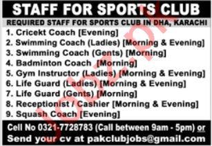 Sports Club Jobs 2021 In Karachi