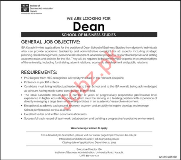 Institute of Business Administration IBA Karachi Job 2021