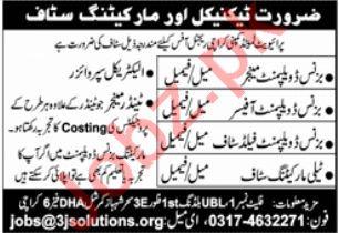 Technical & Marketing Staff Jobs 2021 In Karachi