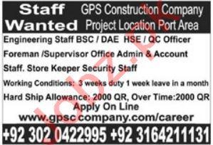 GPS Construction Company Karachi Jobs 2021