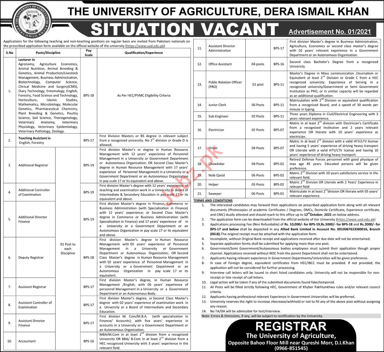 The University of Agriculture Faculty Staff Jobs 2021