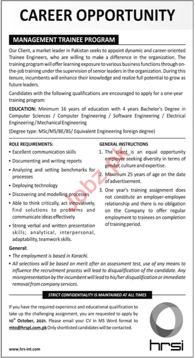 HRSI Management Trainee Program 2021 in Karachi