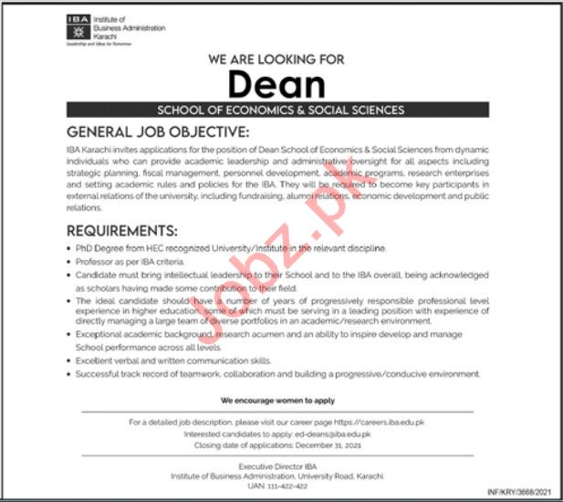 Institute of Business Administration IBA Job 2021 For Dean