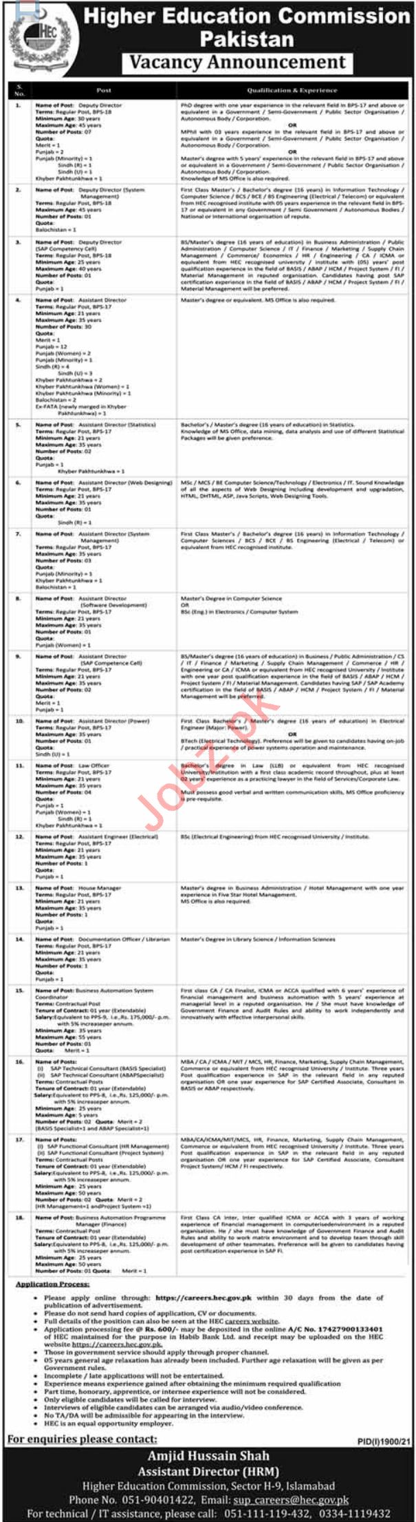 HEC Higher Education Commission Islamabad Jobs 2021