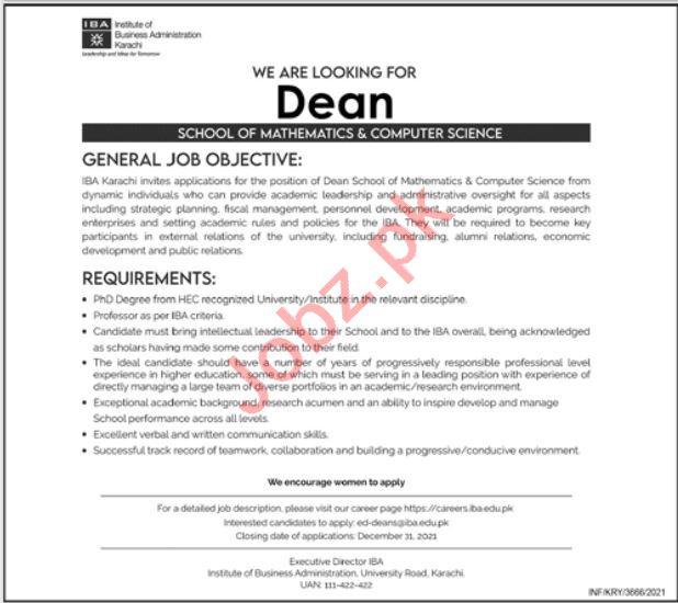 Institute of Business Administration IBA Job 2021 In Karachi