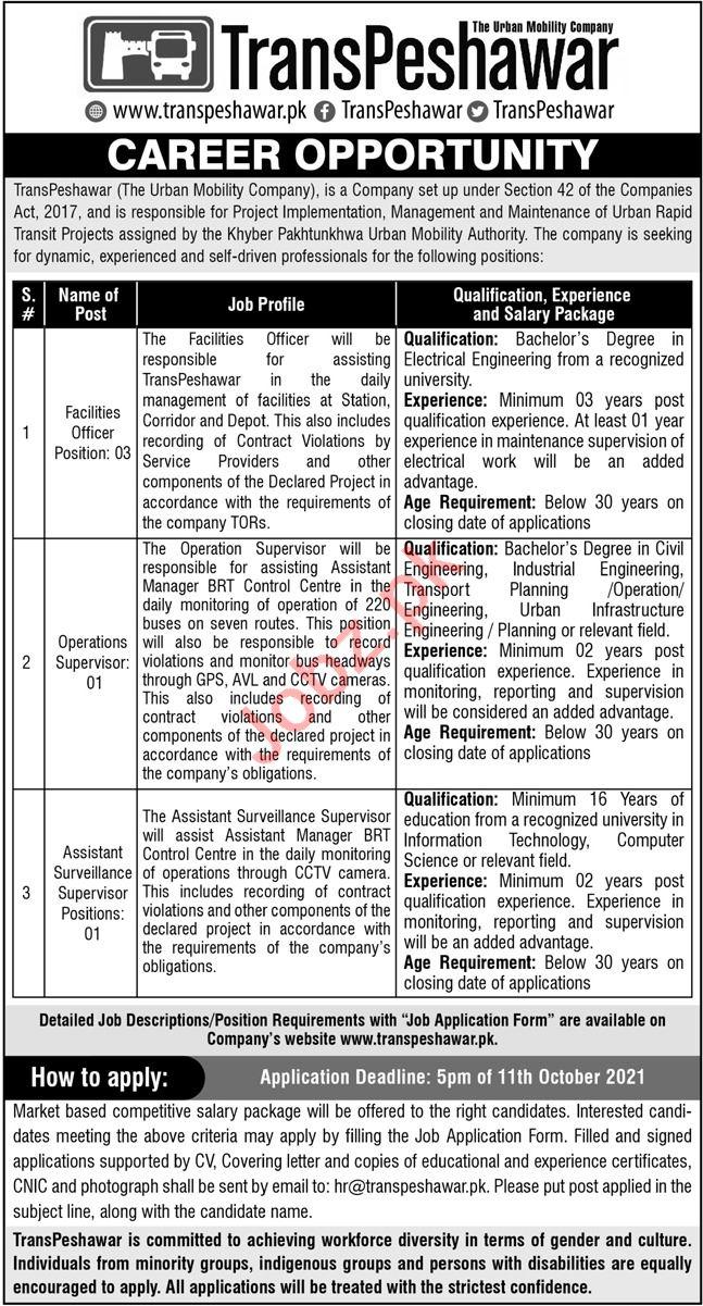 TransPeshawar Management Jobs 2021