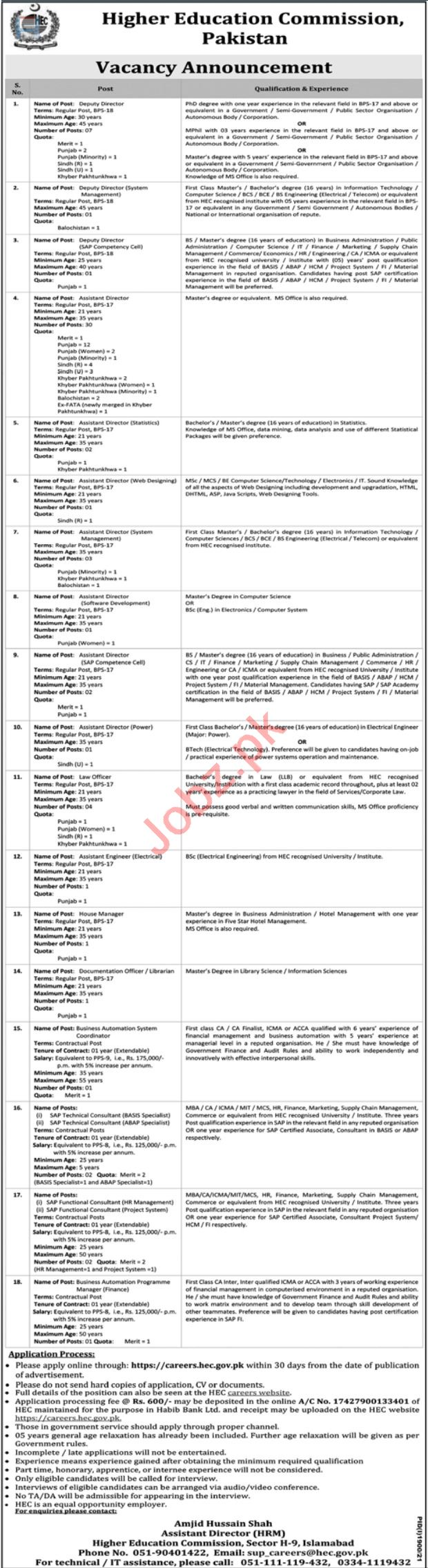 Higher Education Commission HEC Jobs 2021 In Islamabad