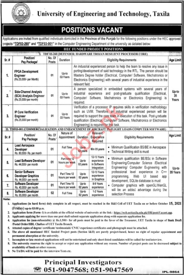 University of Engineering and Technology Jobs 2021 in Taxila