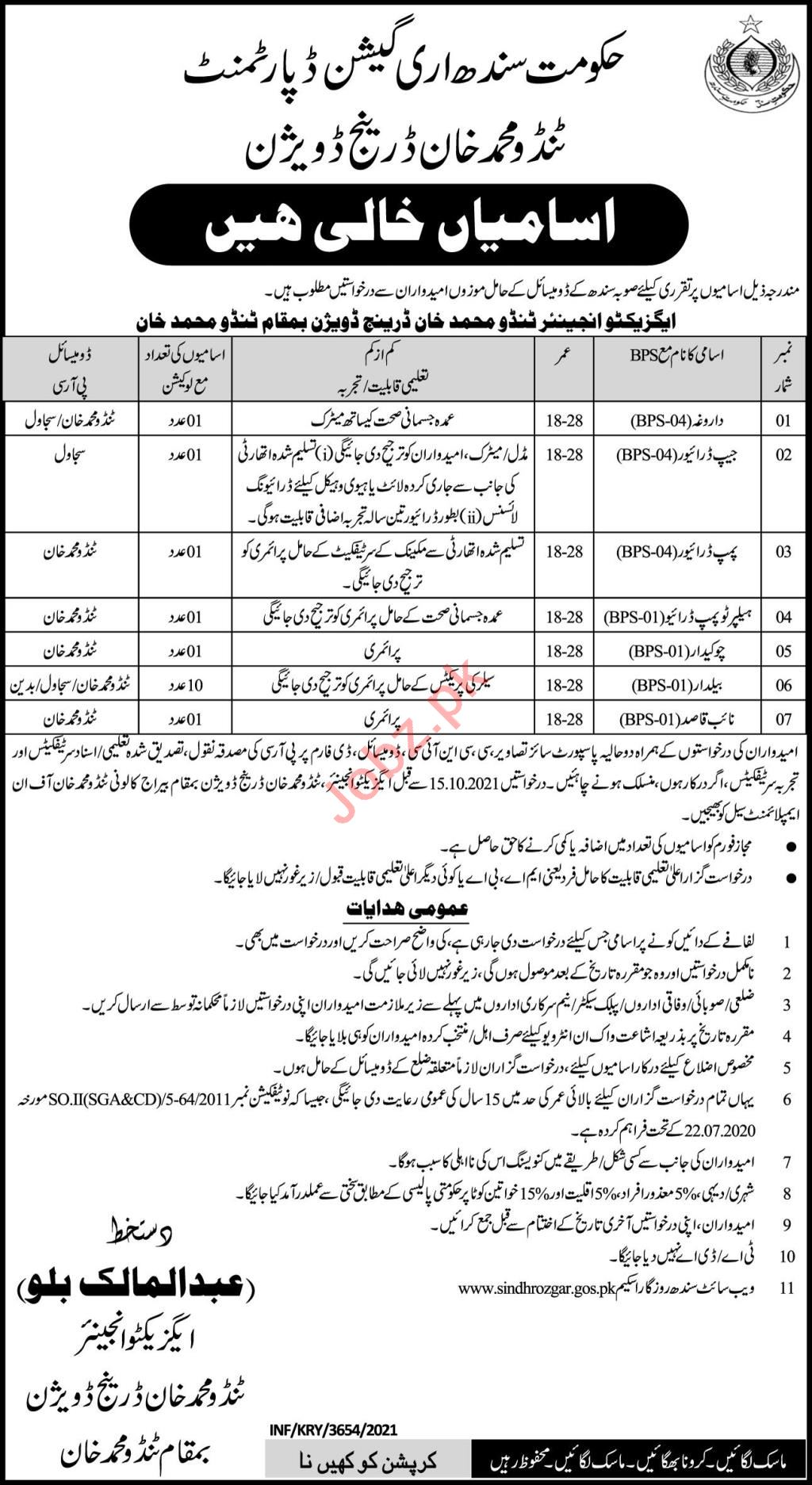 Irrigation Department Jobs 2021 In Tando Muhammad Khan