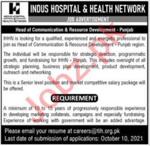 Indus Network and Health Network Jobs 2021