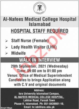 Al Nafees Medical College Hospital Jobs 2021