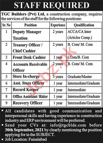 TGC Builders Private Limited Jobs 2021 In Faisalabad