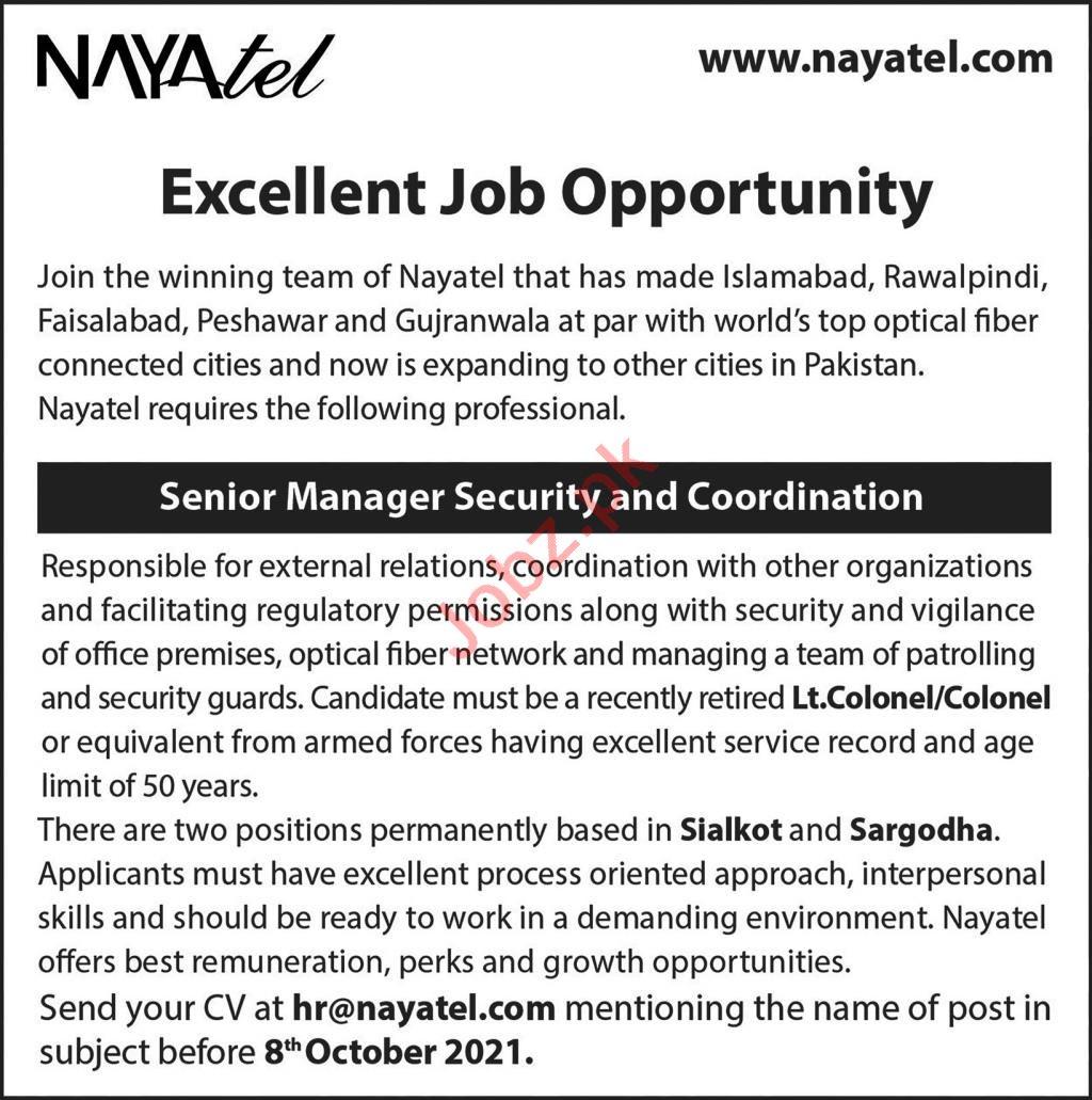 Nayatel Pvt Limited Jobs 2021 In Sargodha & Sialkot
