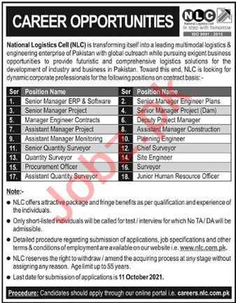 Management Jobs in National Logistics Cell NLC