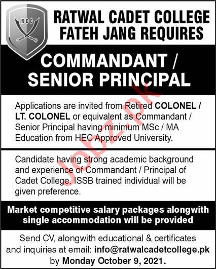 Ratwal Cadet College Jobs 2021 In Fateh Jang