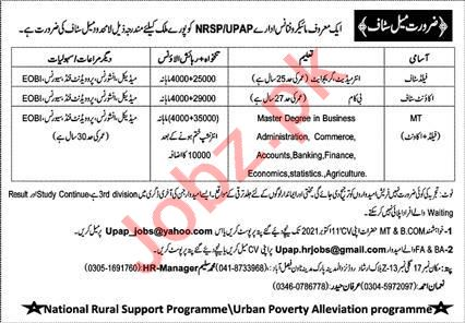 UPAP NRSP Microfinance Organization Jobs 2021
