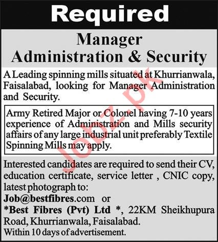 Manager Administration & Security Job 2021 In Faisalabad