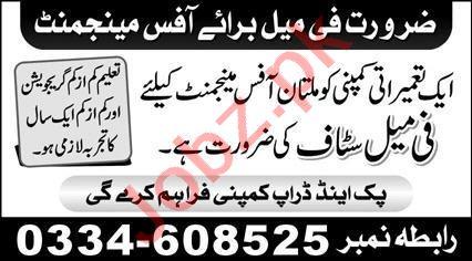 Office Manager Job 2021 In Multan