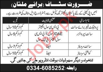 Engineering Staff Jobs 2021 In Multan