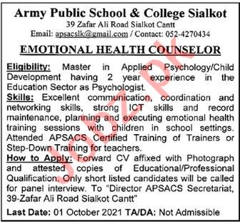 Emotional Health Counselor jobs in Army Public School