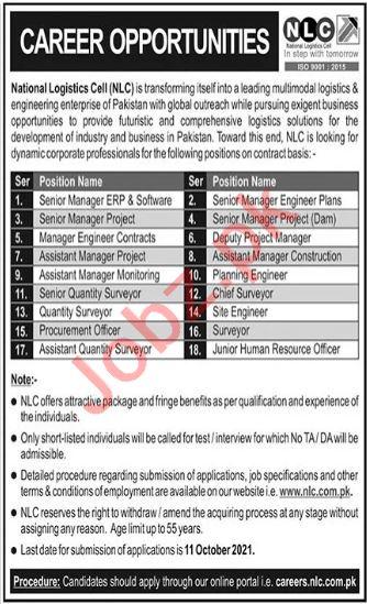 National Logistics Cell NLC Management Jobs 2021