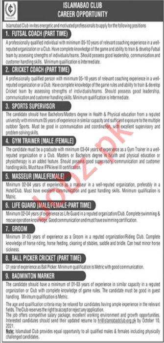 Islamabad Club Management Jobs 2021