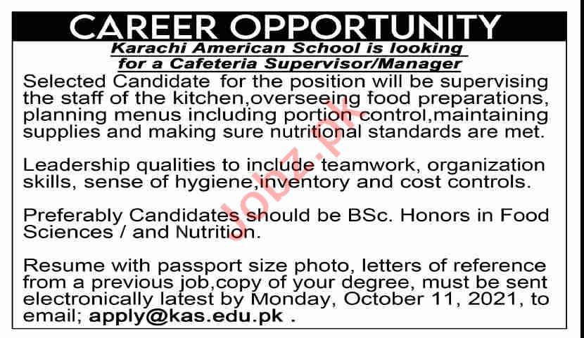 Karachi American School Cafeteria Supervisor Jobs 2021