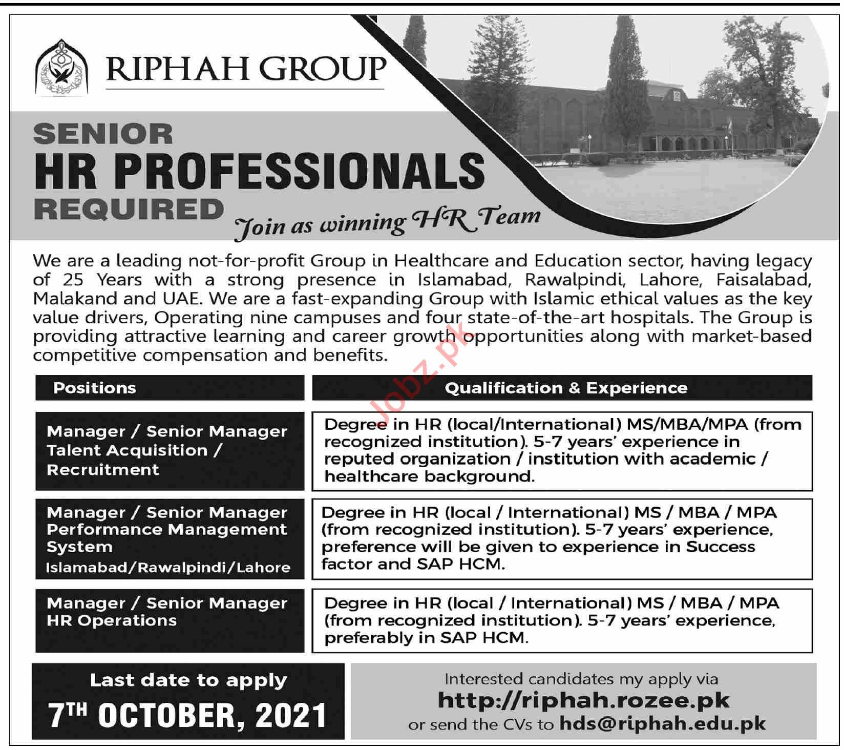 Riphah Group Management jobs 2021