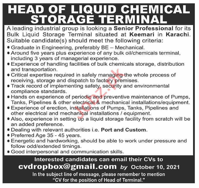 Head of Liquid Chemical Storage Jobs in Industrial Group