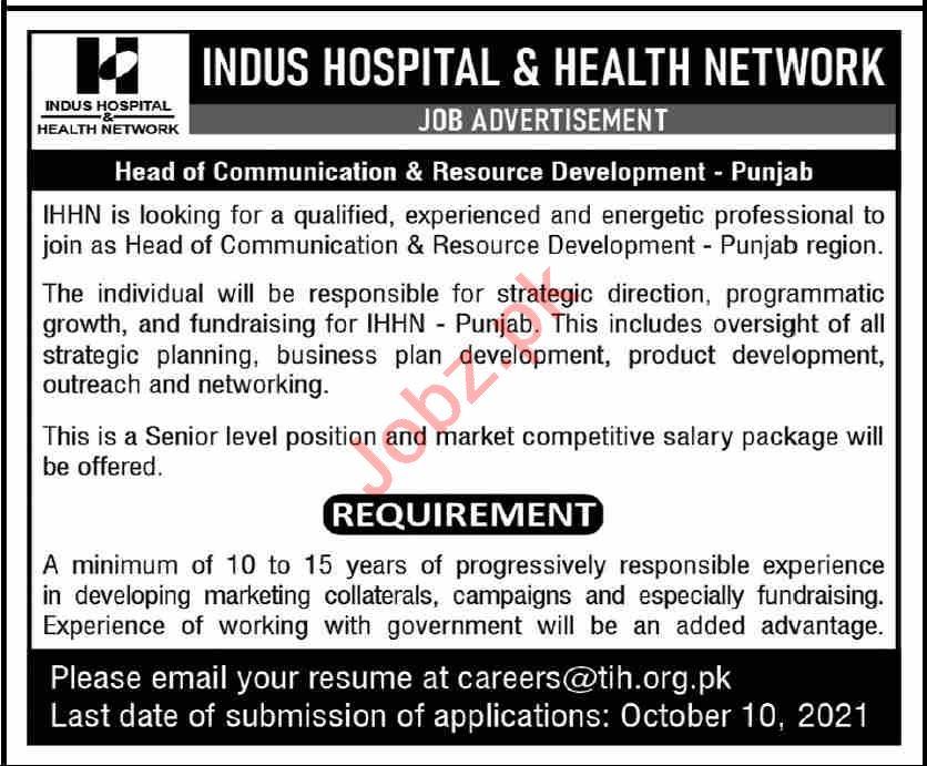 Indus Hospital & Health Network Head of Communication Jobs