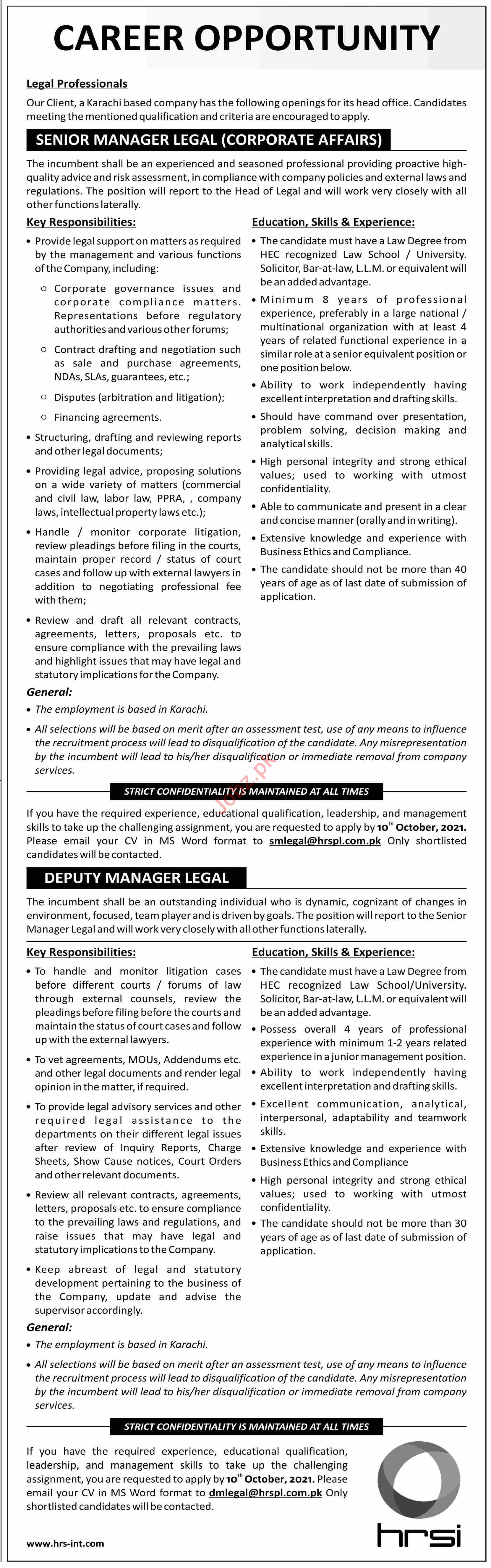 HRSI Management Jobs 2021