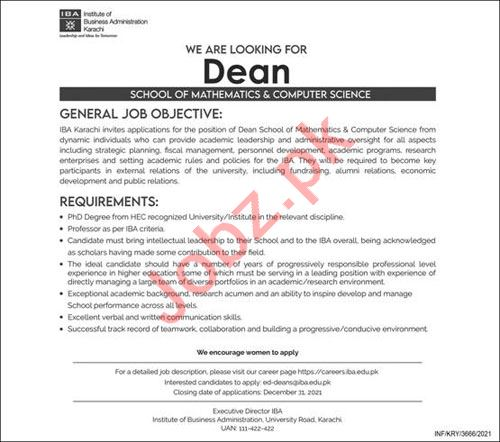 Institute of Business Administration IBA DEAN Jobs 2021