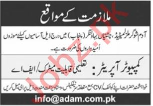 Computer Operator Jobs in Bahwalnagar Jobs 2021