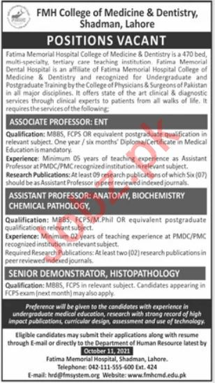 FMH College of Medicine & Dentistry Lahore Jobs 2021