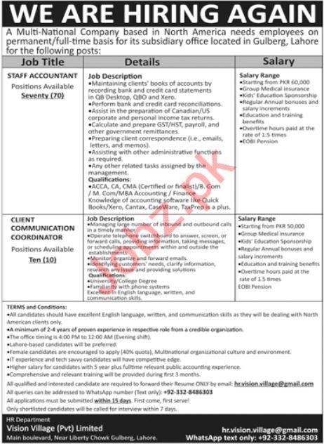 Vision Village Pvt Limited Lahore Jobs 2021