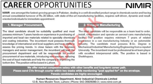 Nimir Industrial Chemicals Limited Lahore Jobs 2021