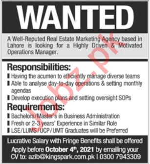 Operations Manager Jobs in Lahore