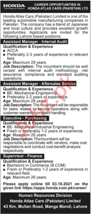 Honda Atlas Cars Pakistan Limited Lahore Jobs 2021