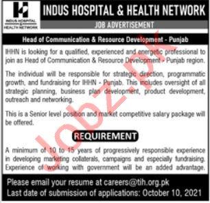 Indus Hospital & Health Network IHHN Jobs in Lahore