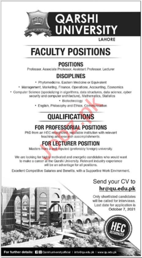 Qarshi University Lahore Jobs 2021