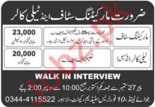 Tele Caller Marketing Manager Jobs in Lahore