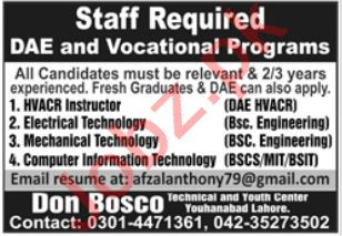Don Bosco College of Engineering & Technology Lahore Jobs