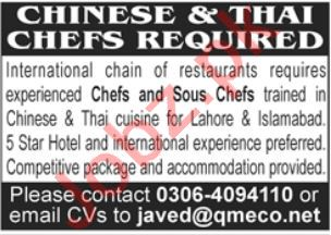 Chinese Chef Thai Chef Jobs in Lahore