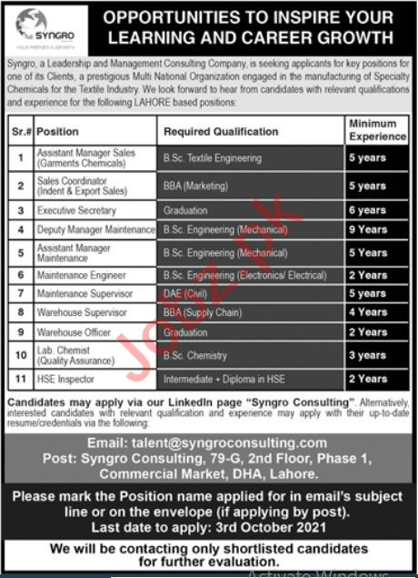 Syngro Consulting Jobs in Lahore
