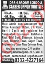 Dar E Arqam School Samanabad Lahore Jobs 2021
