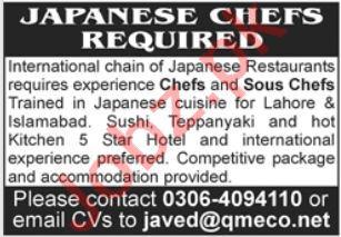 Japanese Chef jobs in Japanese Restaurant Lahore