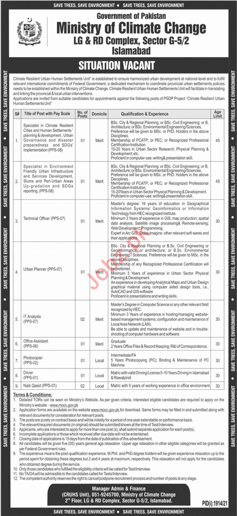 LA & RD Ministry of Climate Jobs 2021